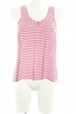 Pink loop A Line Top natural white-red striped pattern casual look