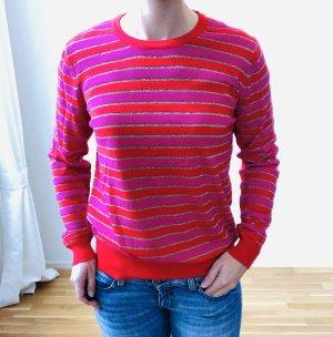 Pink-Rot gestreifter Pullover, neu, Größe M/L