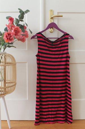 Pink Schwarz gestreiftes Longtop Gestreiftes Kleid