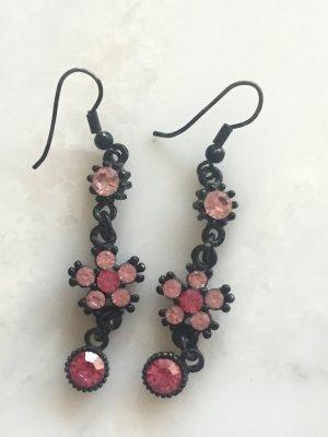 Pink-Schwarze Blumen-Ohrringe NEU