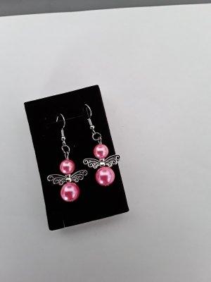 Kolczyk z perłą srebrny-różowy