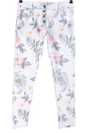 Pink Skinny Jeans Blumenmuster Casual-Look