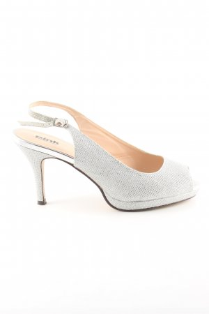 Pink Slingback Pumps silver-colored weave pattern casual look