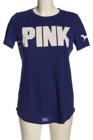 Pink T-shirt blu-bianco Stampa a tema stile casual