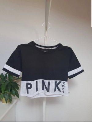 Pink Victoria's Secret Cropped Shirt white-black