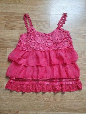 Top con bretelline magenta-rosa