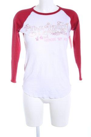 Pink Victoria's Secret Longsleeve weiß-rot Schriftzug gedruckt Casual-Look