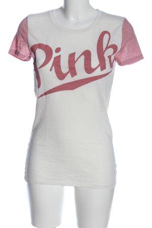 Pink Victoria's Secret T-Shirt wollweiß-pink Schriftzug gedruckt Casual-Look