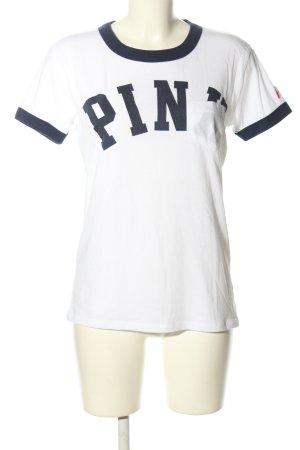 Pink Victoria's Secret T-Shirt weiß-schwarz Schriftzug gedruckt Casual-Look