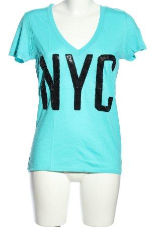 Pink Victoria's Secret V-Ausschnitt-Shirt blau-schwarz Schriftzug gedruckt