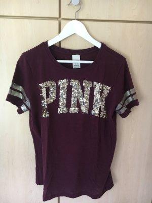 PINK Victoria's Secret - Weinrotes T-shirt mit Pailetten-Aufdruck