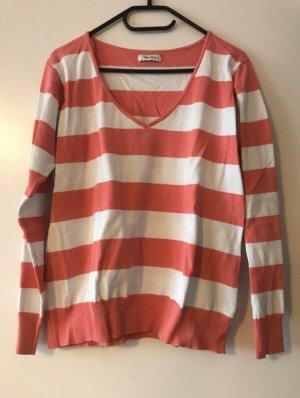 Pink/weiß gestreifter Pullover