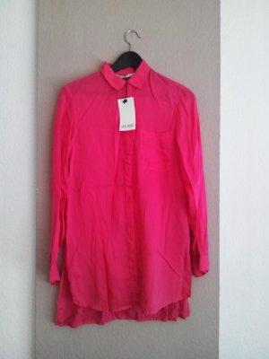 Pink Zara oversize Hemdbluse aus 100 % Lyocell, Größe S, neu