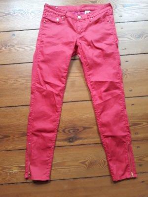 Pinke 7/8 Hose mit goldener Reißverschluss Applikation, leicht glänzend