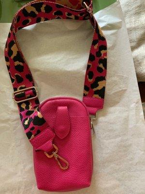 Pinke Leder Handytasche mit breitem & schmalem Riemen neu