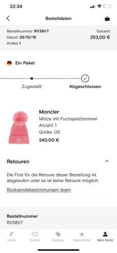 Moncler Fur Hat pink