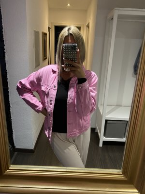 Pinke oversize Jeans Jacke von Gina Tricot