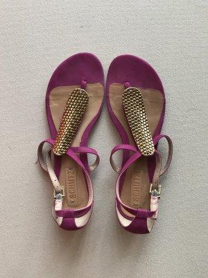 Sandalias con talón descubierto rosa-marrón arena Cuero