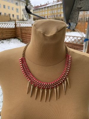 Bijou Brigitte Statement Necklace pink-gold-colored