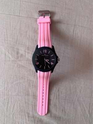 Alpha Saphir Zegarek analogowy czarny-różowy
