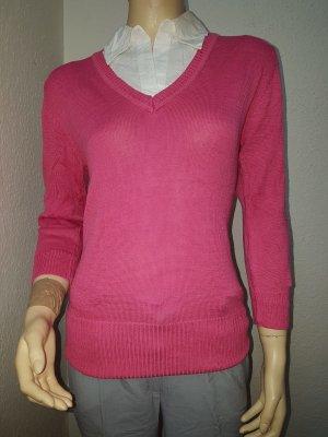 pinker Pulli mit weißer Bluse NEU mit Etikett Gr. 36
