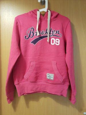 pinker Pullover mit Kapuze