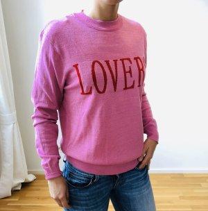 Pinker Pullover mit Print, neu, Größe M/L