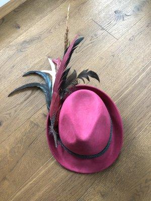 Folkloristische hoed roze-donkergroen