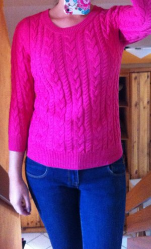 Pinker Zopfmuster-Pullover