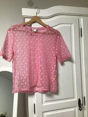 Pinkes durchsichtiges Punkte Tshirt