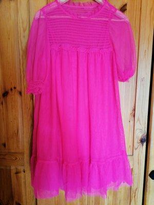 Chiffon jurk neonroos
