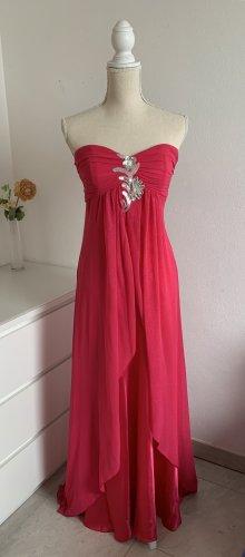 Pinkes Trägerfreies Abendkleid / Ballkleid mit Schal Gr. 38