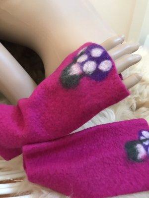Handmade Guantes sin dedos multicolor Lana