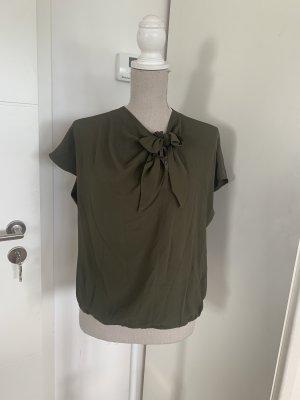 Pinko Bluzka z krótkim rękawem khaki-zielono-szary