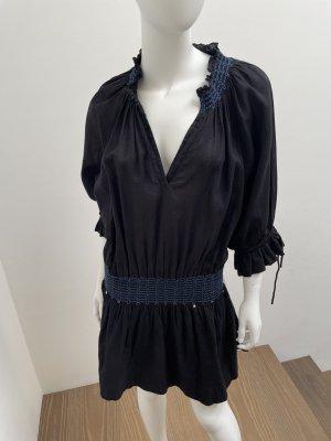 Pinko Sukienka z długim rękawem czarny-niebieski Bawełna