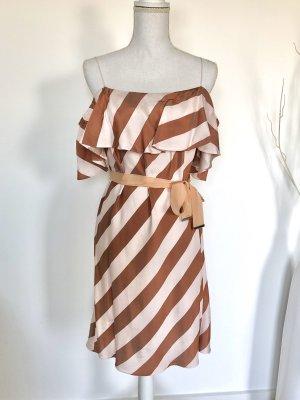Pinko Kleid S 36 Gestreift Braun Rose