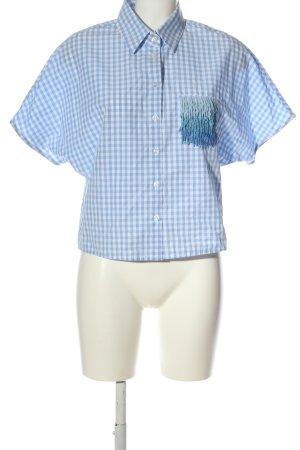 Pinko Camicia a maniche corte blu-bianco motivo a quadri stile casual