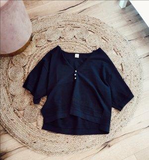 Pinko Lochstickerei Tunika Bluse Shirt dunkelblau boho S