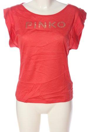 Pinko T-shirt imprimé rouge-doré lettrage imprimé style décontracté