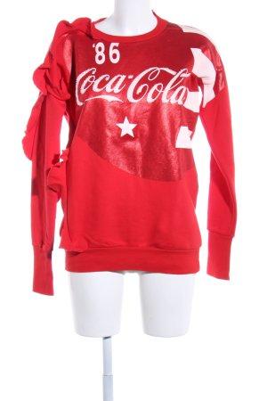 Pinko Sweatshirt rot-weiß Schriftzug gedruckt Casual-Look