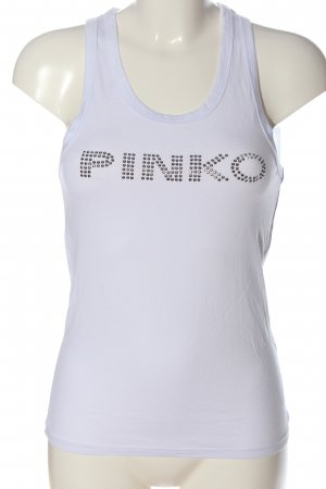 Pinko Tanktop wit-zilver gedrukte letters casual uitstraling