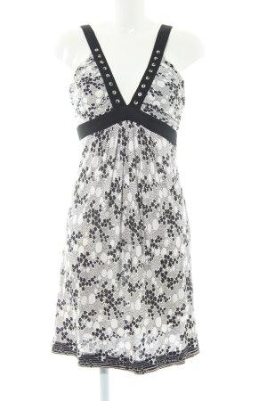 Pinko Trägerkleid schwarz-wollweiß Blumenmuster