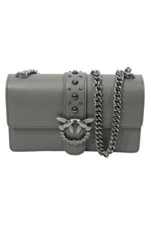 Pinko Umhängetasche in Grau aus Leder