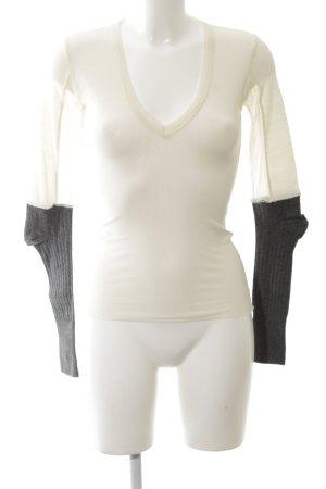Pinko V-Ausschnitt-Shirt wollweiß-schwarz Casual-Look