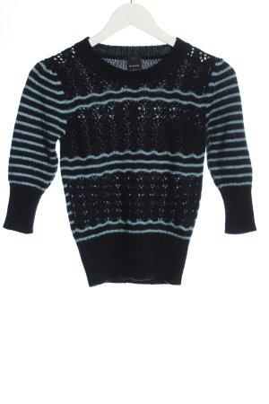 Pinko Maglione di lana nero-blu motivo a righe stile casual