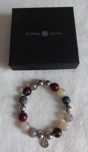 Pippa & Jean Perlen-Armband grau/rot elastisch ca. 19 cm