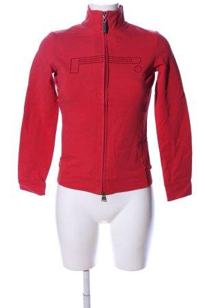 Pirelli Sweatjacke rot Schriftzug gedruckt Casual-Look