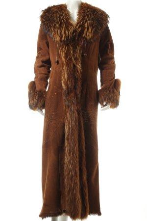 Pirtani Abrigo de cuero marrón estilo extravagante