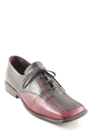 Più di servas Zapatos brogue negro-carmín estampado a rayas