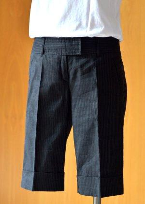PIÚ & PIÚ 38 S/M Shorts Bermudas Anzughose Schwarz Nadelstreifen Leinen